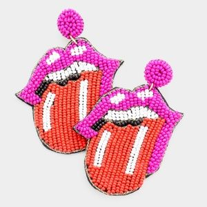 • Felt Back Seed Bead Tongue Out Mouth Earrings